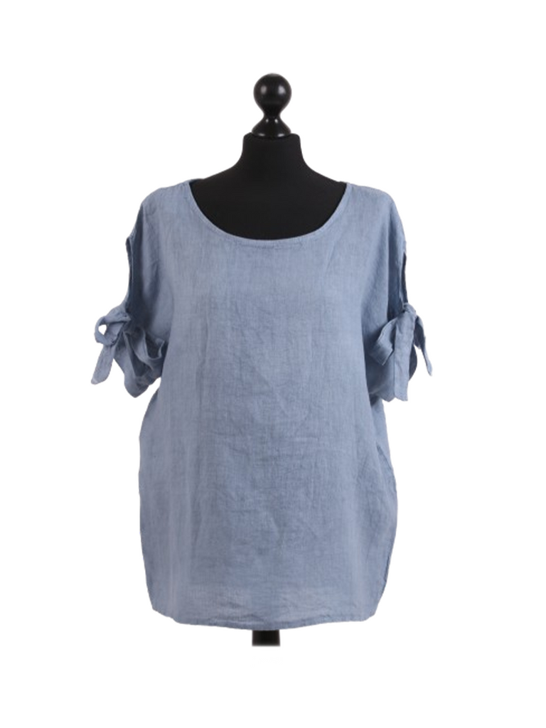 DENIM BLUE BW SLEEVE LINEN TOP