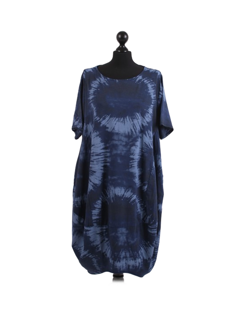 NAVY CIRCLE PRINT TIE DYE COTTON DRESS
