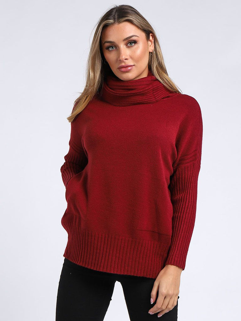 WINE COWL NECK SIDE BUTTONS CROP TOP
