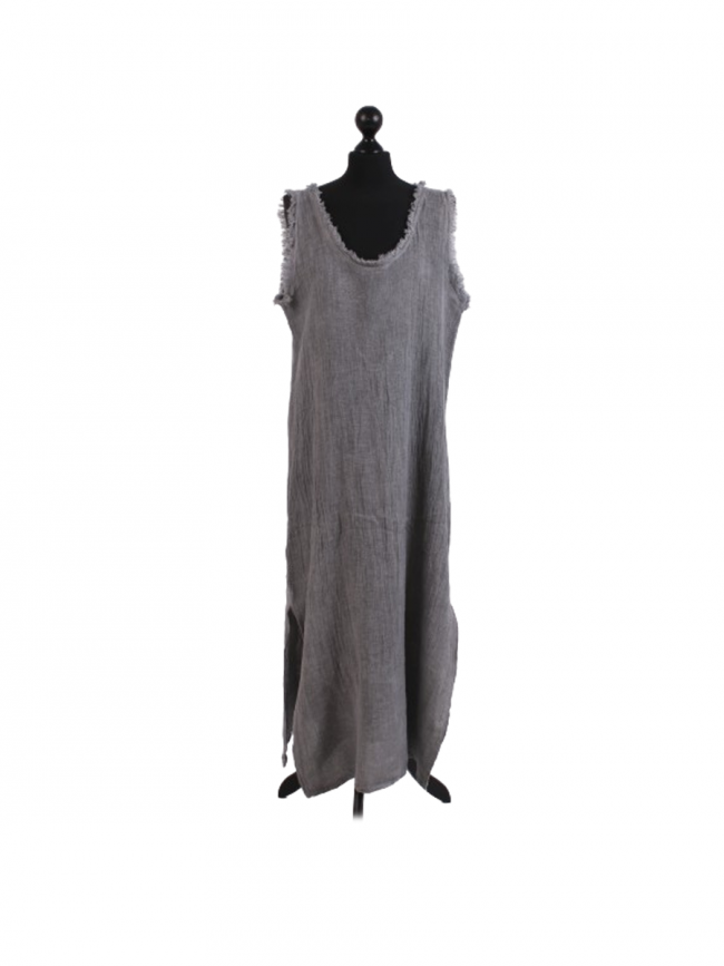 GREY ITALIAN STONE WASH SLEEVELESS DRESS