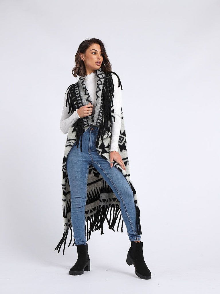 WHITE TRIBAL PRINT WOOL OPEN FRONT CARDIGAN
