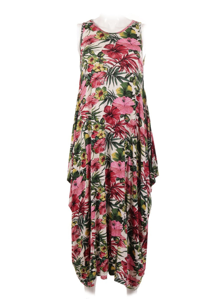 CERISE TROPICAL PRINT PARACHUTE DRESS