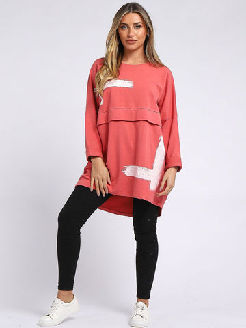 CORAL BRUSH STROKE PRINT BAGGY LAGENLOOK COTTON TOP