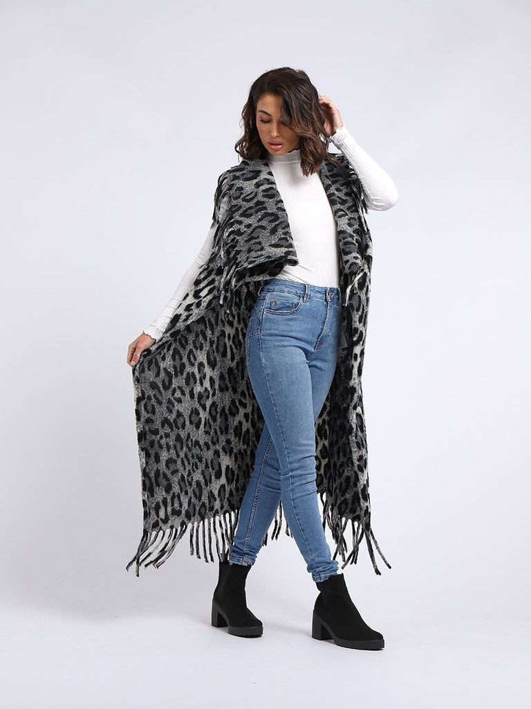 CHARCOAL LEOPARD PRINT WOOL OPEN FRONT CARDIGAN