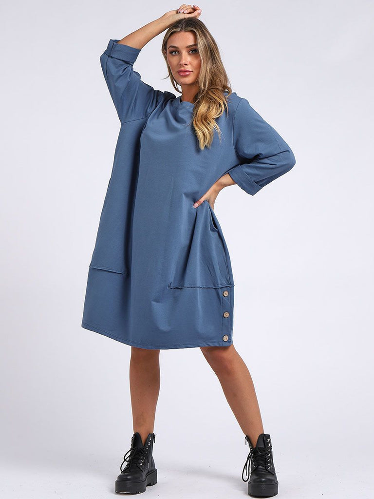 DENIM BUTTONED HEM COTTON SLOUCH DRESS