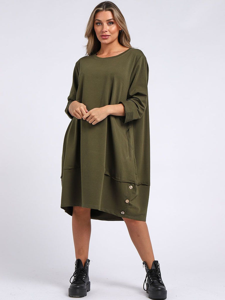 KHAKI BUTTONED HEM COTTON SLOUCH DRESS