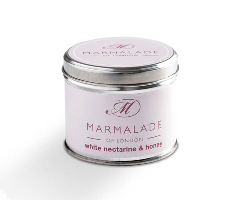 MARMALADE TIN CANDLE WHITE NECTARINE AND HONEY