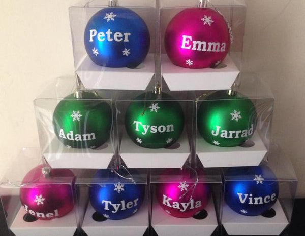Personalised Name/Date 8cm Christmas Baubles Ornaments In Gift Boxes