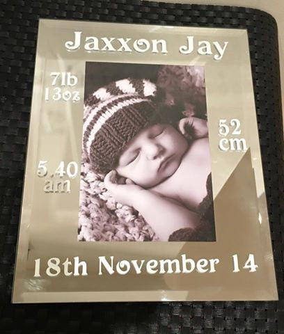 personalised baby birth details mirror edge standing photo frames