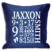 Personalised Birth Details Cushions - Royal Blue Or Black