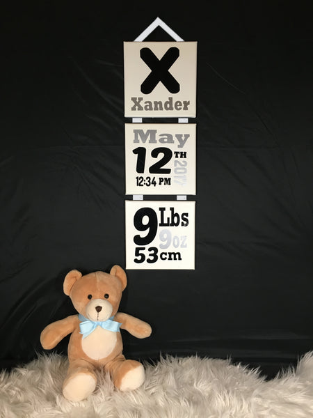 Personalised Baby Birth Details Hanging Canvases