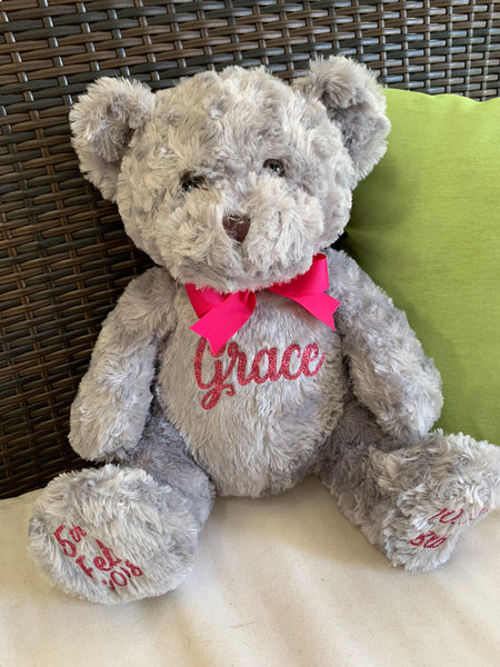 Personalised Large 35cm Teddy Bear - Grey