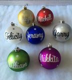 Personalised Cursive 8cm Christmas Baubles Ornaments In Gift Box