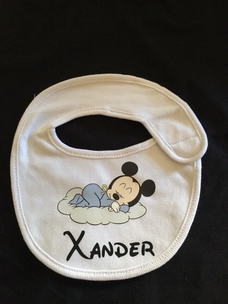 Personalised Name & Character Newborn Baby Bibs