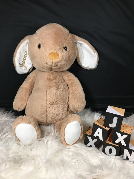 Personalised Plush Rabbit Bunny - Pink & Brown