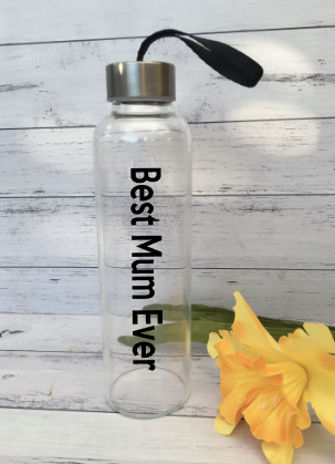 Personalised Best Mum Ever Mother's Day Glass Water Drink Bottles