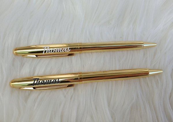 Personalised Gold Ballpoint pens In Clear Display Case - 2pk