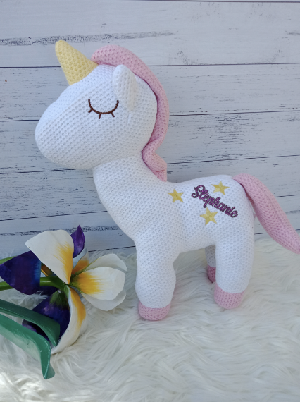 Personalised Unicorn Standing Plush