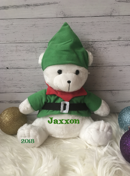 Personalised Christmas Elf Teddy Bear