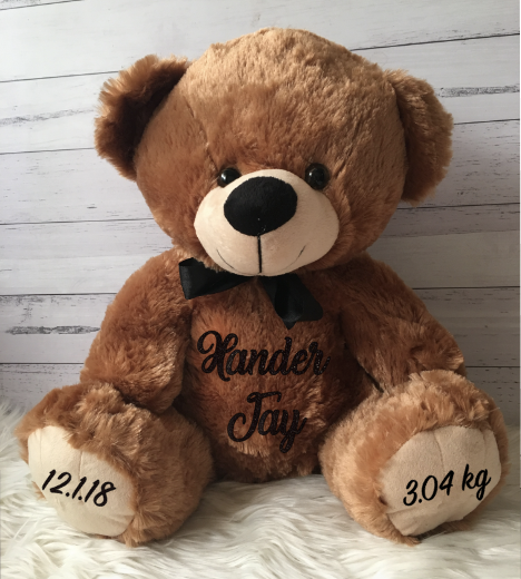Personalised Large 40cm Teddy Bear - Fluffy Brown