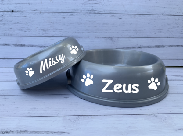 Personalised Grey Dog Pet Bowls - Small or Large