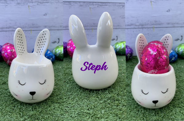 Personalised Bunny Shaped Porcelain Egg Cups