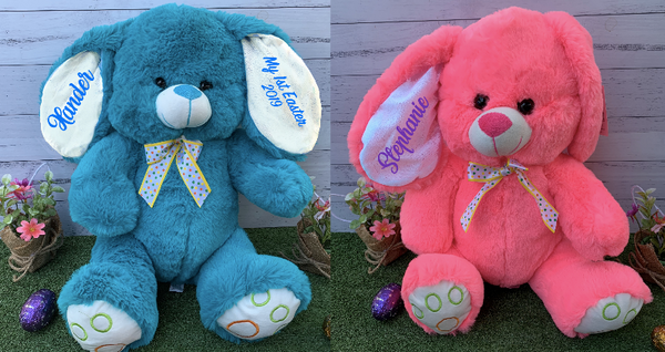 Personalised XL Easter Bunny Plush Rabbits - Fluro Pink Or Turquoise Blue