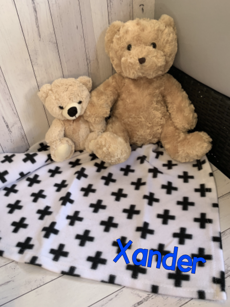 Personalised Name Baby Blanket Wrap - B&W Cross