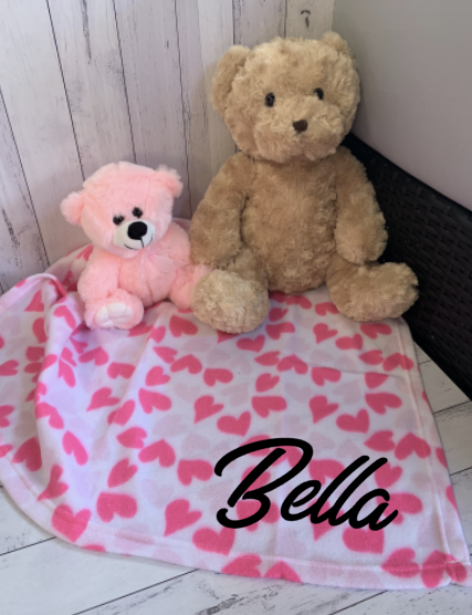 Personalised Name Baby Blanket Wrap - Hearts