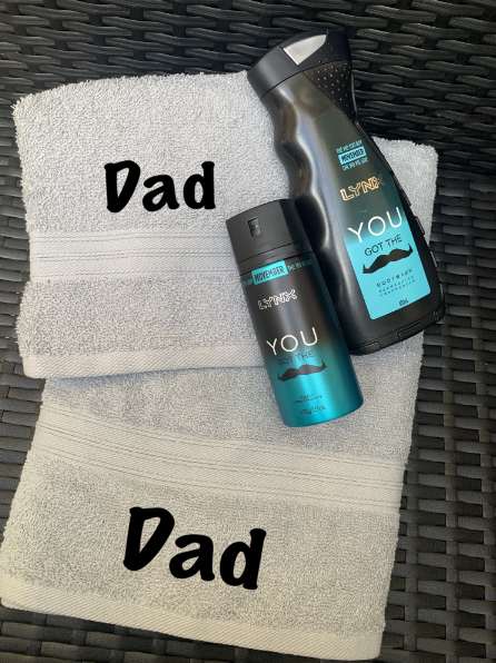 Personalised Mens Towel, Shave Towel & Lynx Fragrance Pack