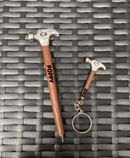 Personalised Father's Day Hammer Novelty Keyring Or Pen