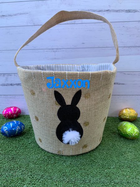 Personalised Easter Hessian Hunting Baskets with Handle
