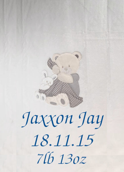 Personalised Teddy Applique Micro Fleece Cot Blanket