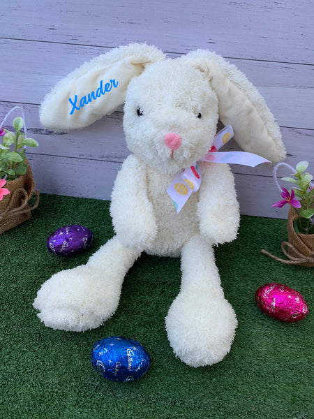 Personalised Floppy Ear Cream Easter Plush Bunny Rabbit