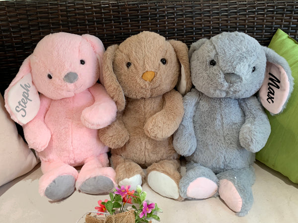 Personalised Easter Plush Rabbit Bunny - Brown, Grey or Pink