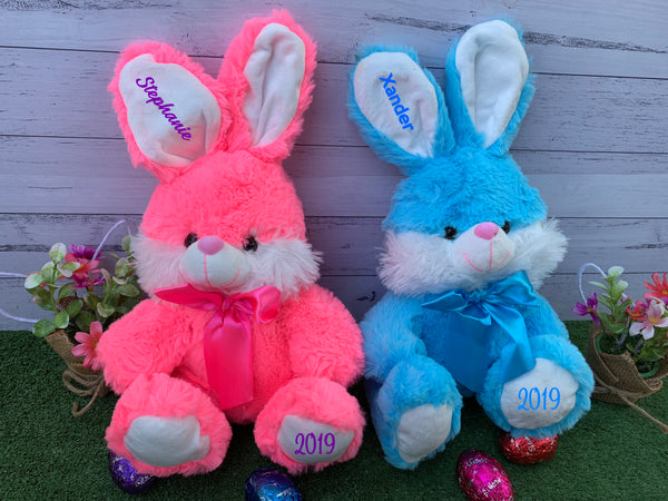 Personalised Easter Plush Rabbit Bunny - Blue or Pink