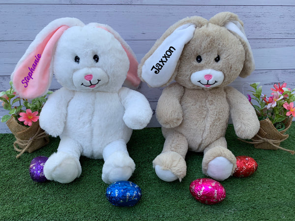 Personalised Easter Bunny Plush Rabbits - White Or Brown