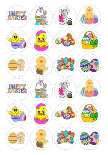 24 x Easter Theme Rice Paper Cupcake Toppers