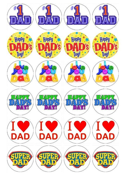 24 x Dad's Day Theme Rice Paper Cupcake Toppers