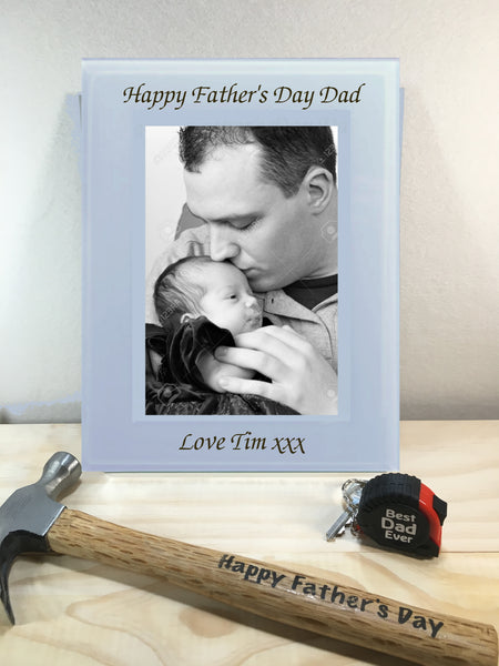 Personalised Engraved Father's Day Frosted with Mirror Writing Photo Frames - 4x6 + 5x7