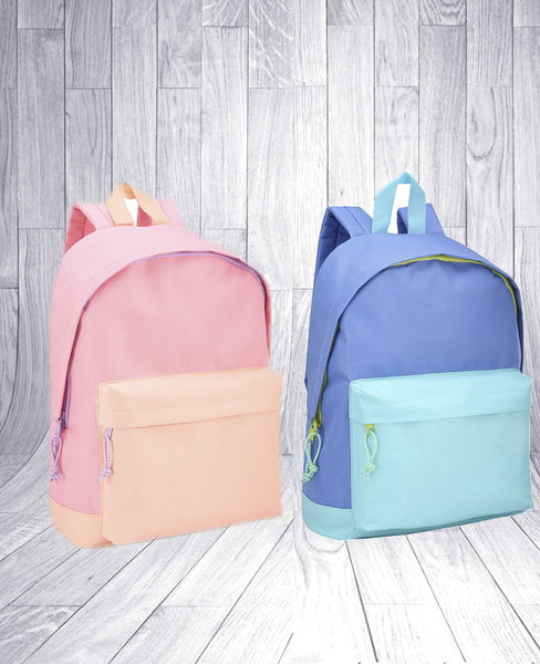 Kindy / Pre School Childs Personalised Backpack - Blue / Pink