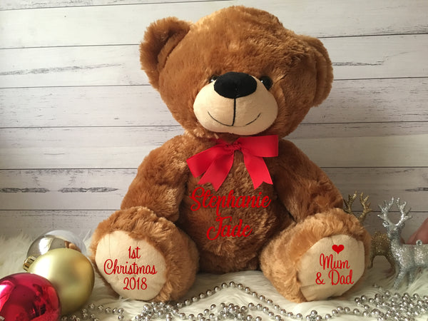 Personalised 2018 Christmas Fluffy Teddy Bear - Large