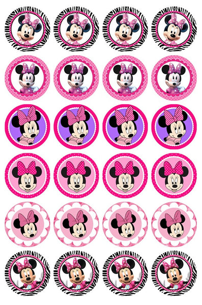 24 x Minnie Mouse Rice Paper Cupcake Toppers