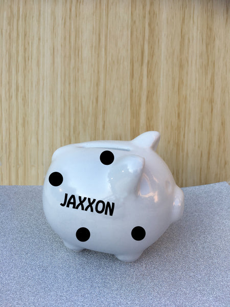 Personalised Ceramic Piggy Bank Money Box - Name/Date or Christened