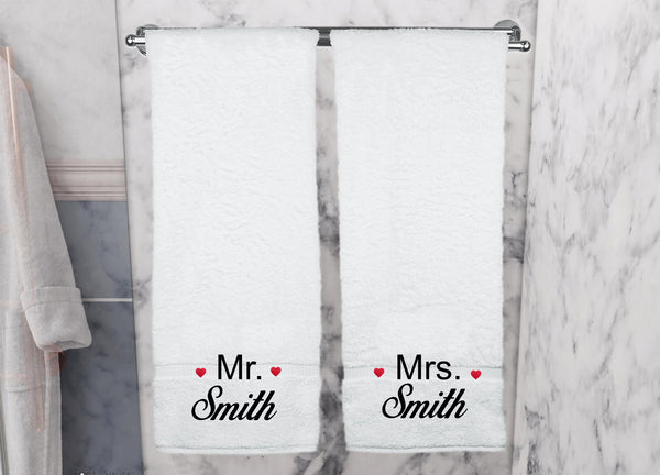 Mr & Mrs Personalised Bath Sheet Set