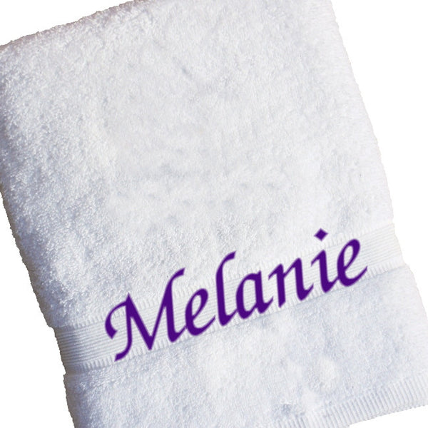 Personalised Name Bath Towels - White