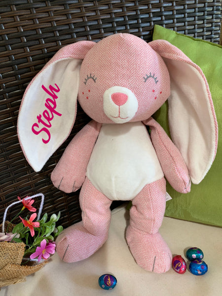 Personalised Pink Linen Style Easter Plush Bunny Rabbit