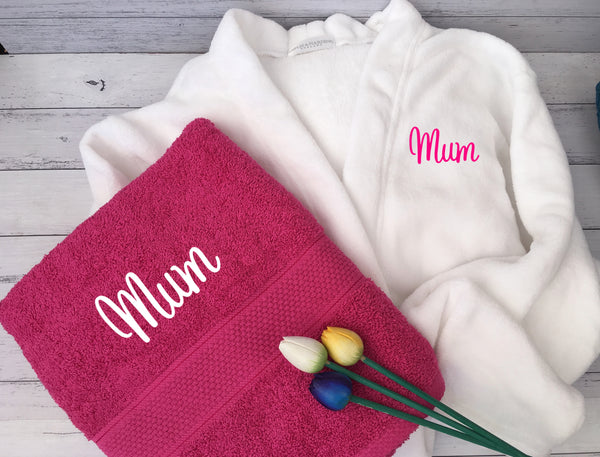Personalised Mother's Day Bath Robe & Deluxe Towel Gift Hamper
