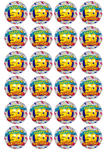 24 x 50th Birthday Theme Rice Paper Cupcake Toppers