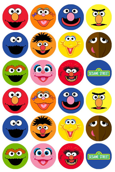 24 x Sesame Street Rice Paper Cupcake Toppers